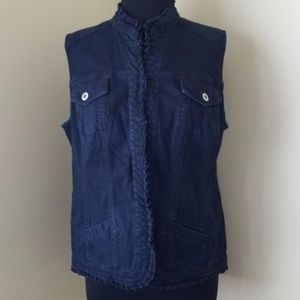 Chico's Dark Blue Denim Ruffle Front Vest, 14